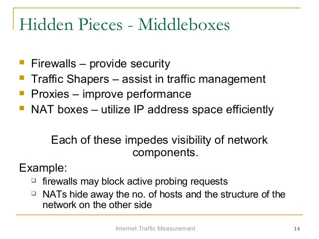 Internet Traffic Measurement 14 Hidden Pieces - Middleboxes  Firewalls – provide security  Traffic Shapers – assist in t...