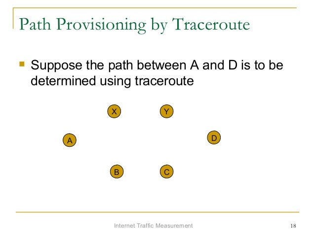 Internet Traffic Measurement 18 Path Provisioning by Traceroute  Suppose the path between A and D is to be determined usi...