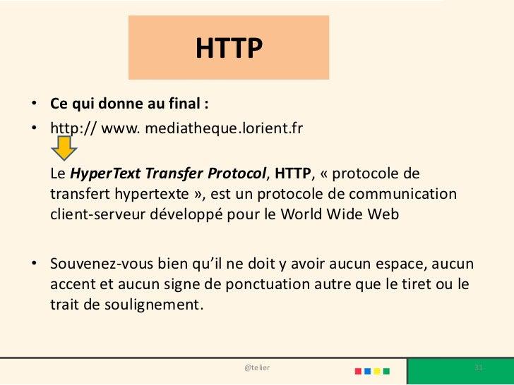 HTTP• Ce qui donne au final :• http:// www. mediatheque.lorient.fr  Le HyperText Transfer Protocol, HTTP, « protocole de  ...