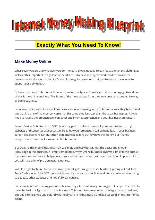 Internet money making blueprint exactly what you need to know make money online where ever you are and whatever malvernweather Gallery