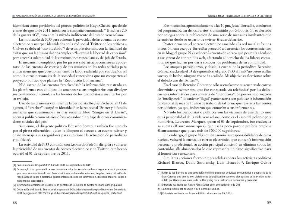 VENEZUELA: SITUACIÓN DEL DERECHO A LA LIBERTAD DE EXPRESIÓN E INFORMACIÓN                                                 ...