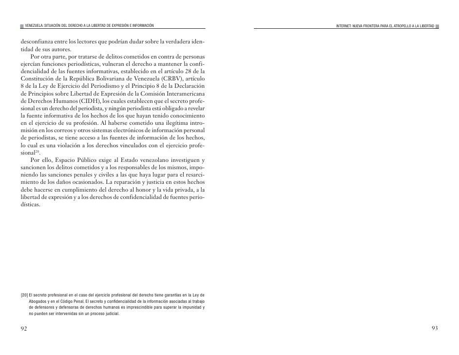 VENEZUELA: SITUACIÓN DEL DERECHO A LA LIBERTAD DE EXPRESIÓN E INFORMACIÓN                                 INTERNET: NUEVA ...
