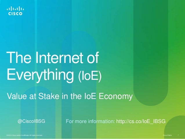 The Internet ofEverything (IoE)Value at Stake in the IoE Economy                 @CiscoIBSG                               ...