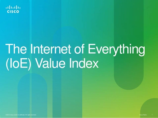 Cisco Public 1© 2013 Cisco and/or its affiliates. All rights reserved.The Internet of Everything(IoE) Value Index