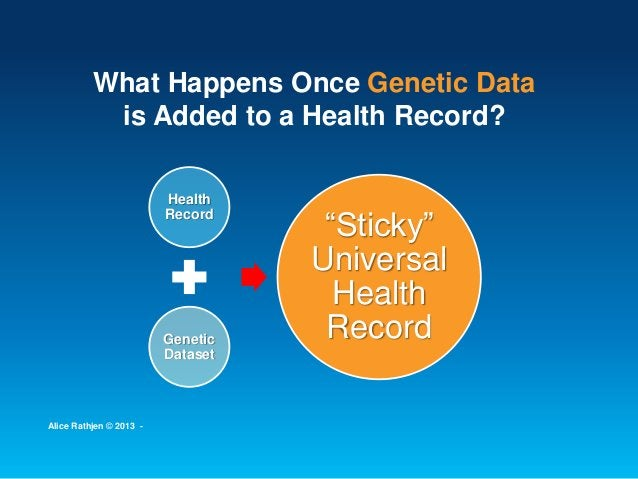 """What Happens Once Genetic Data is Added to a Health Record? Health Record Genetic Dataset """"Sticky"""" Universal Health Record..."""