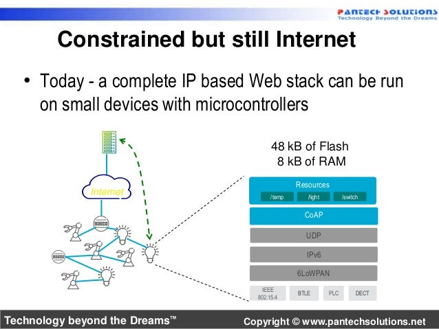 Constrained but still Internet  • Today - a complete IP based Web stack can be run  on small devices with microcontrollers...