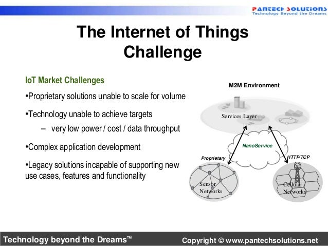 The Internet of Things  M2M Environment  Services Layer  NanoService  Challenge  Proprietary HTTP/TCP  Sensor  Networks  C...