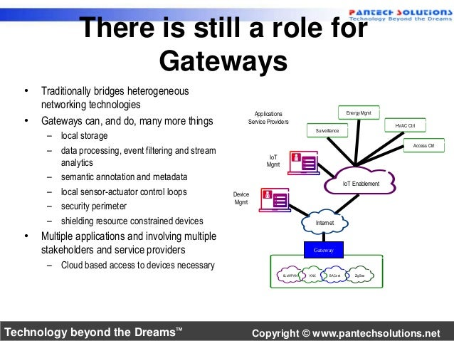 There is still a role for  Gateways  • Traditionally bridges heterogeneous  networking technologies  • Gateways can, and d...