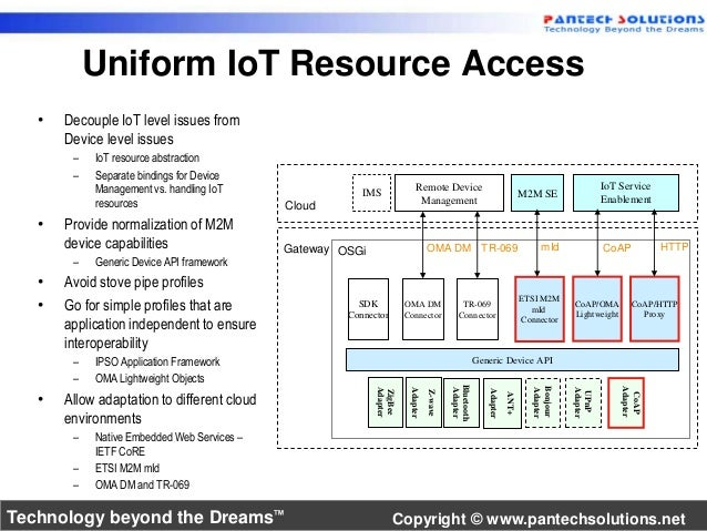 Uniform IoT Resource Access  • Decouple IoT level issues from  Device level issues  – IoT resource abstraction  – Separate...