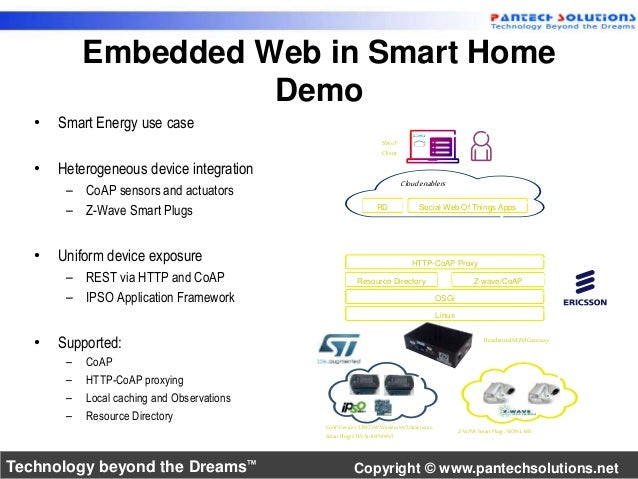 Embedded Web in Smart Home  Demo  • Smart Energy use case  • Heterogeneous device integration  – CoAP sensors and actuator...
