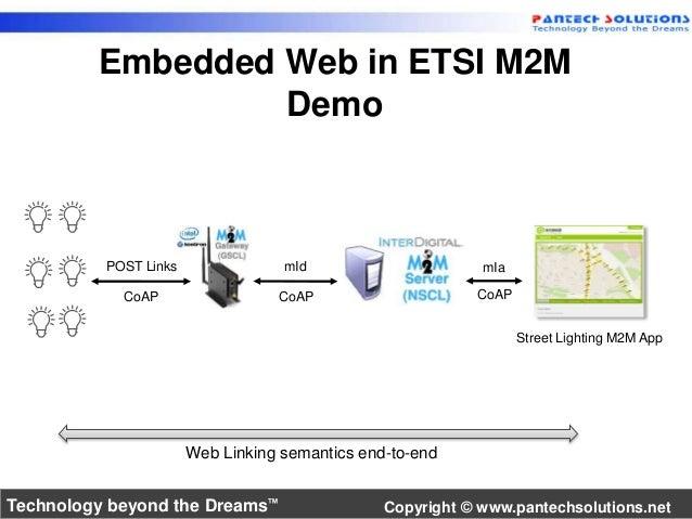 Embedded Web in ETSI M2M  Demo  Street Lighting M2M App  POST Links mId mIa  CoAP CoAP CoAP  Web Linking semantics end-to-...