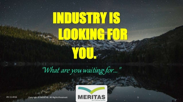 """INDUSTRY IS LOOKING FOR YOU. """"What are you waiting for..."""" 29-11-2016 Copyright © MERITAS. All Rights Reserved. 1"""