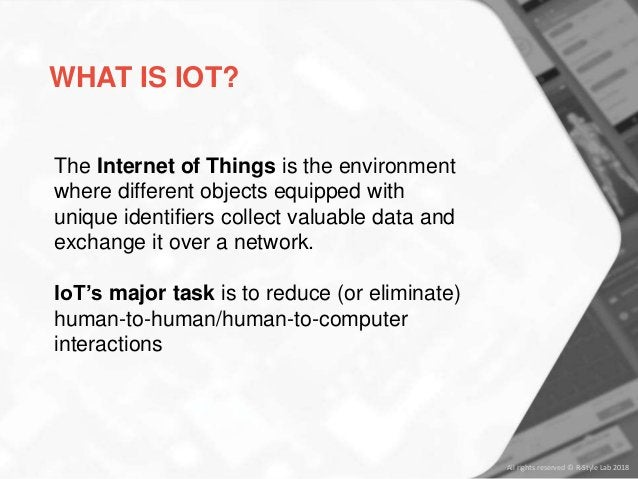 WHAT IS IOT? The Internet of Things is the environment where different objects equipped with unique identifiers collect va...