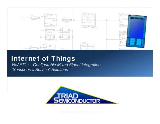 """Internet of Things ViaASICs – Configurable Mixed Signal Integration """"Sensor as a Service"""" Solutions ©TriadSemiconductor..."""