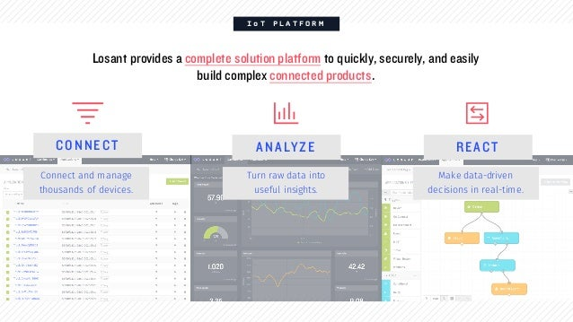 I o T P L A T F O R M Losant provides a complete solution platform to quickly, securely, and easily build complex connecte...