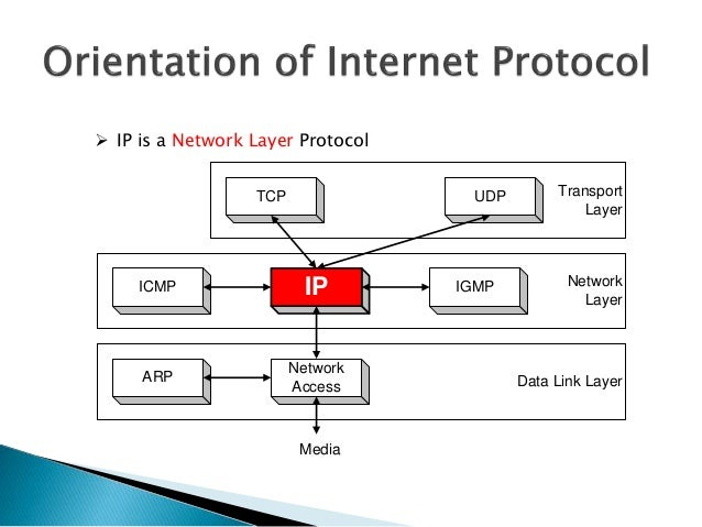 Network Layer Data Link Layer IP ARP Network Access Media ICMP IGMP Transport Layer TCP UDP  IP is a Network Layer Protoc...