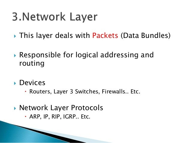 This layer deals with Packets (Data Bundles)  Responsible for logical addressing and routing  Devices  Routers, Layer...