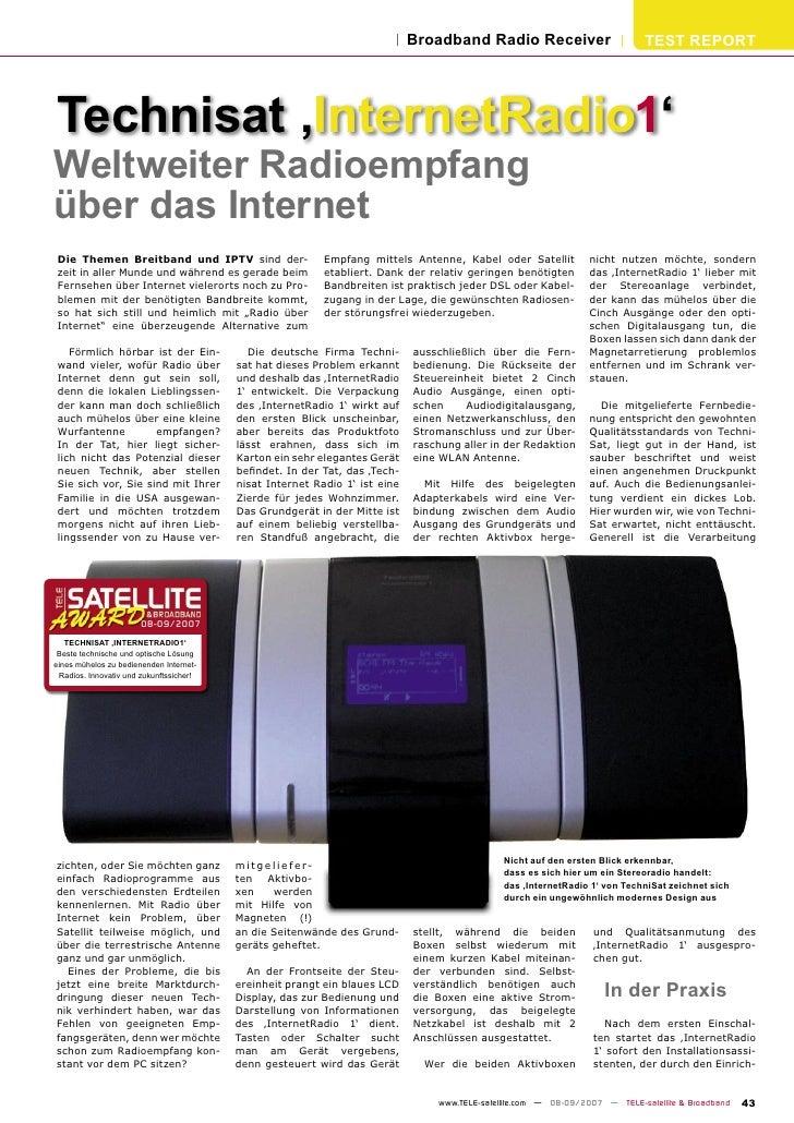 Broadband Radio Receiver                         TEST REPORT     Technisat 'InternetRadio1' Weltweiter Radioempfang über d...