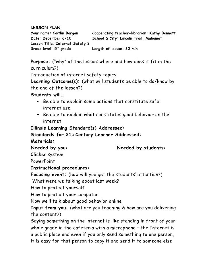 Internet Safety Lesson Plan 2 – Internet Safety Worksheets