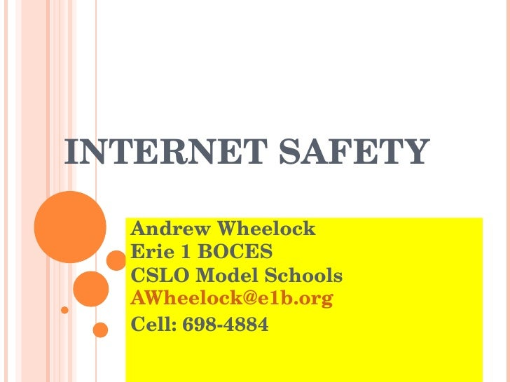 INTERNET SAFETY   Andrew Wheelock  Erie 1 BOCES CSLO Model Schools [email_address] Cell: 698-4884