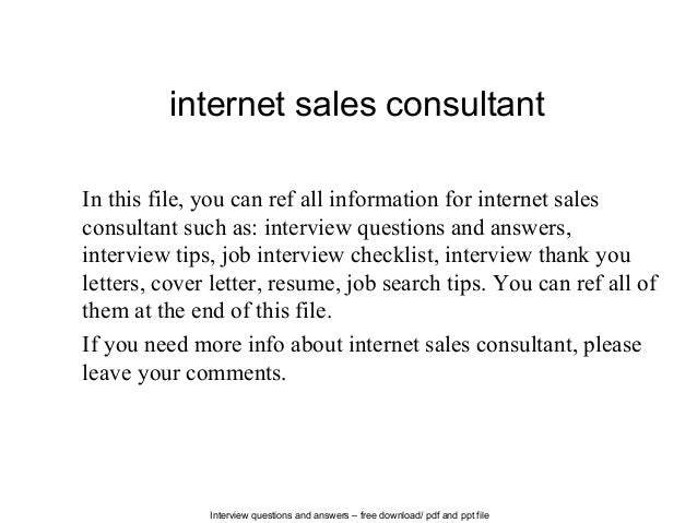 Attractive Interview Questions And Answers U2013 Free Download/ Pdf And Ppt File Internet  Sales Consultant In ...