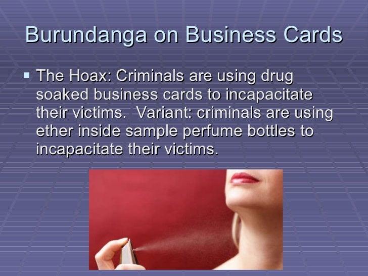 Internet scams fraud and hoaxes burundanga on business cards colourmoves