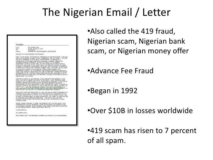 Letters nigerian scam Nigerian Check