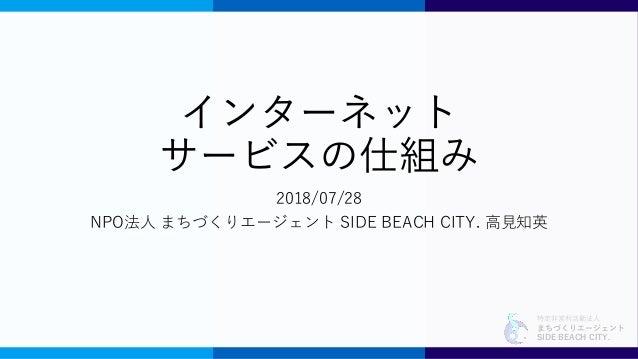 特定非営利活動法人 まちづくりエージェント SIDE BEACH CITY. インターネット サービスの仕組み 2018/07/28 NPO法人 まちづくりエージェント SIDE BEACH CITY. 高見知英