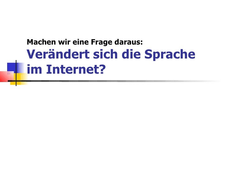 Sprache Im Internet