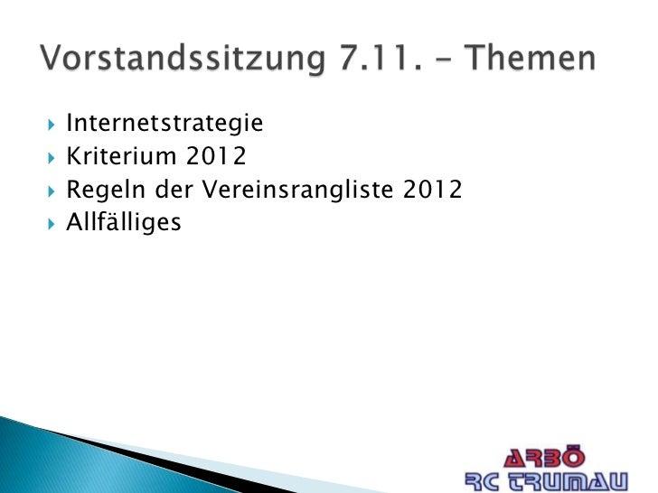    Internetstrategie   Kriterium 2012   Regeln der Vereinsrangliste 2012   Allfälliges