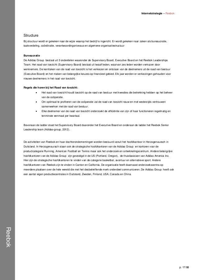 Internetstrategie Reebok   Programma plan