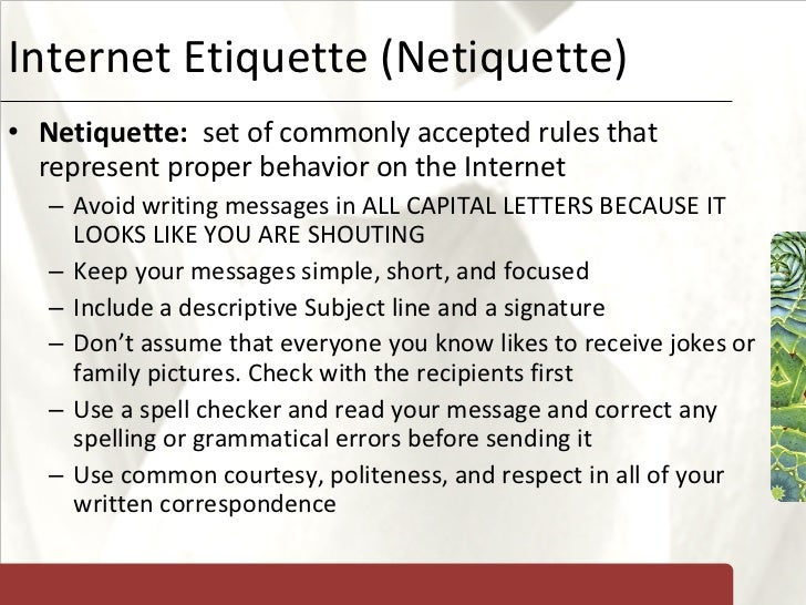 Etiquette and Rule