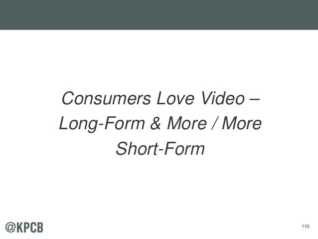 110 Consumers Love Video – Long-Form & More / More Short-Form