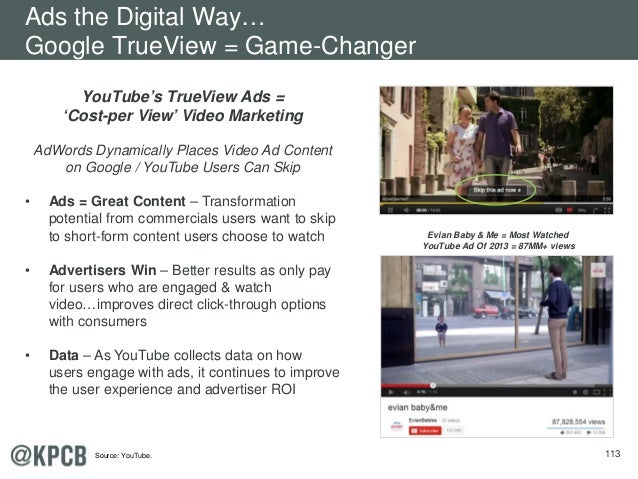 113 YouTube's TrueView Ads = 'Cost-per View' Video Marketing AdWords Dynamically Places Video Ad Content on Google / YouTu...