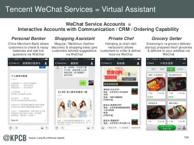 134 WeChat Service Accounts = Interactive Accounts with Communication / CRM / Ordering Capability Personal Banker Private ...