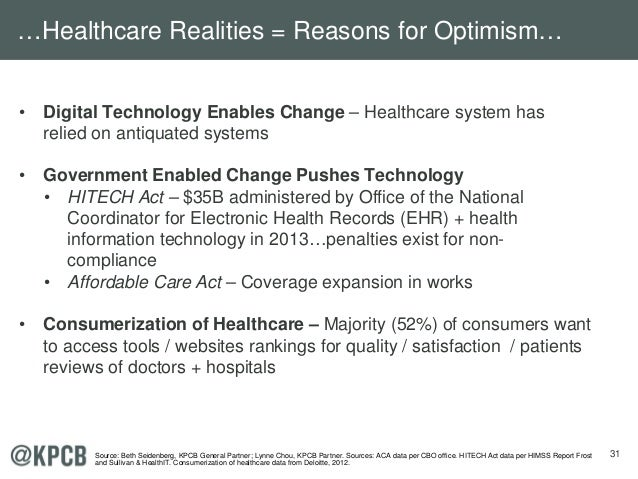 31 • Digital Technology Enables Change – Healthcare system has relied on antiquated systems • Government Enabled Change Pu...