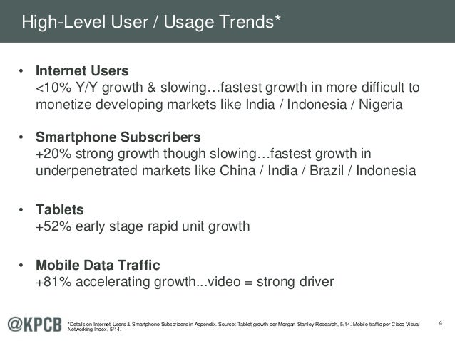 4 • Internet Users <10% Y/Y growth & slowing…fastest growth in more difficult to monetize developing markets like India / ...
