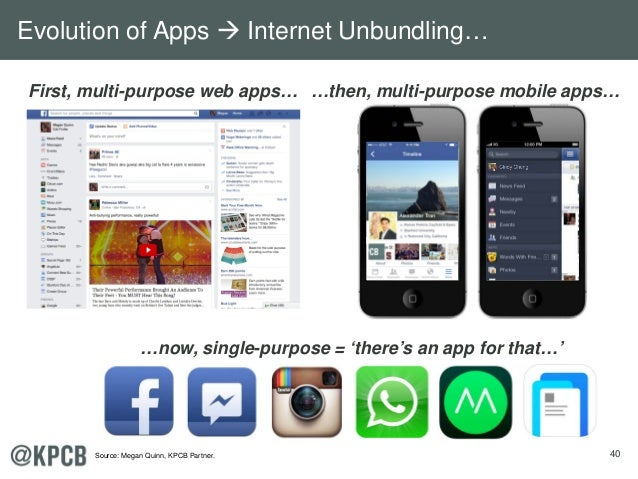 40 First, multi-purpose web apps… …then, multi-purpose mobile apps… …now, single-purpose = 'there's an app for that…' Cind...