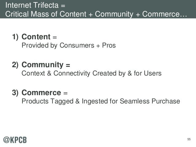 55 1) Content = Provided by Consumers + Pros 2) Community = Context & Connectivity Created by & for Users 3) Commerce = Pr...