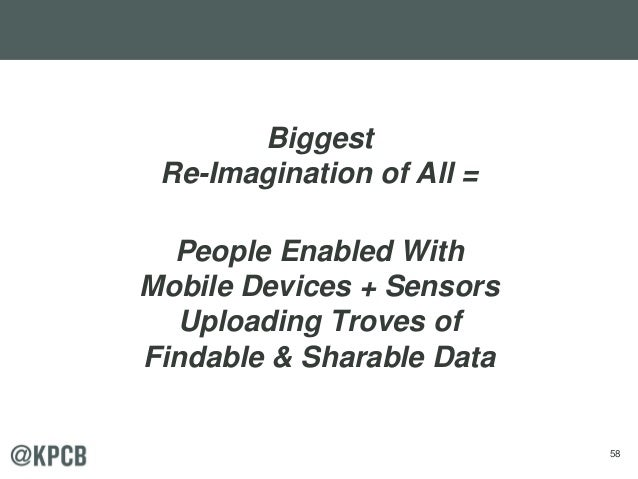 58 Biggest Re-Imagination of All = People Enabled With Mobile Devices + Sensors Uploading Troves of Findable & Sharable Da...