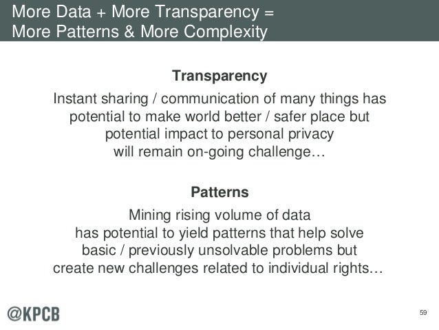59 Transparency Instant sharing / communication of many things has potential to make world better / safer place but potent...