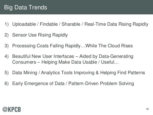 60 1) Uploadable / Findable / Sharable / Real-Time Data Rising Rapidly 2) Sensor Use Rising Rapidly 3) Processing Costs Fa...
