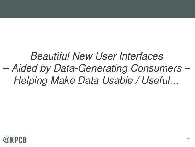 75 Beautiful New User Interfaces – Aided by Data-Generating Consumers – Helping Make Data Usable / Useful…