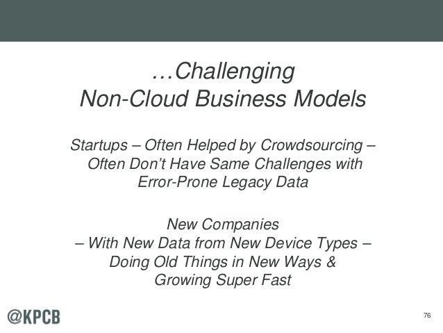 76 …Challenging Non-Cloud Business Models Startups – Often Helped by Crowdsourcing – Often Don't Have Same Challenges with...