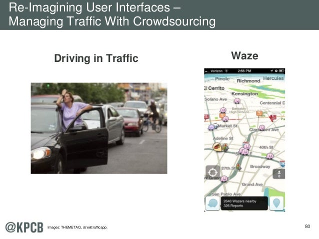 80 Driving in Traffic Waze Re-Imagining User Interfaces – Managing Traffic With Crowdsourcing Images: THEMETAQ, streettraf...