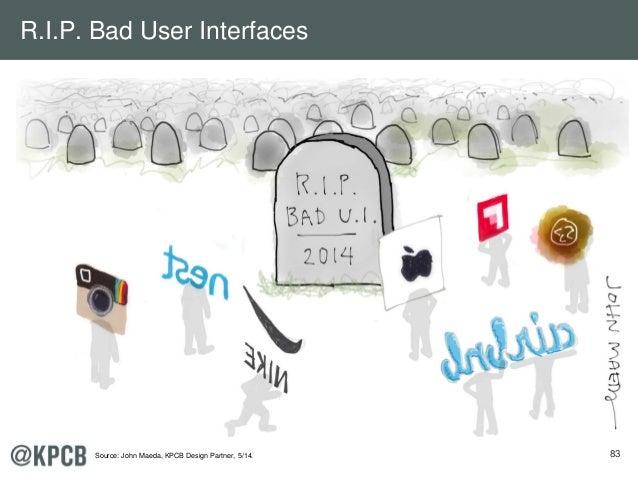 83 R.I.P. Bad User Interfaces Source: John Maeda, KPCB Design Partner, 5/14.