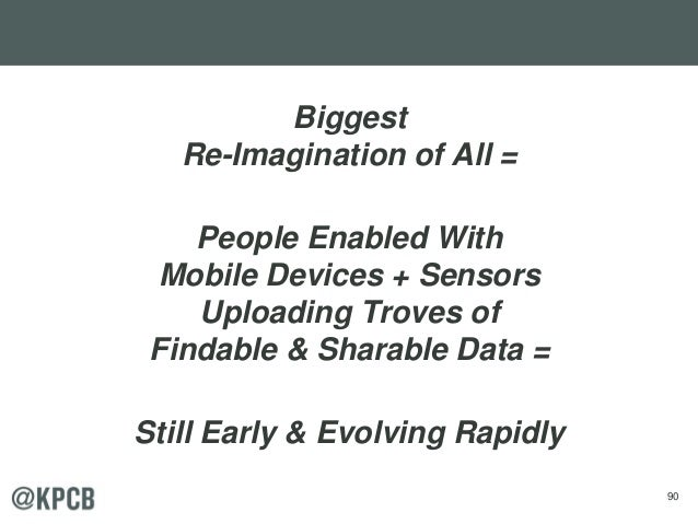 90 Biggest Re-Imagination of All = People Enabled With Mobile Devices + Sensors Uploading Troves of Findable & Sharable Da...