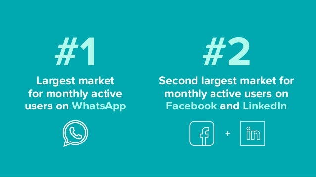 #1Largest market  for monthly active users on WhatsApp #2Second largest market for monthly active users on Facebook and L...