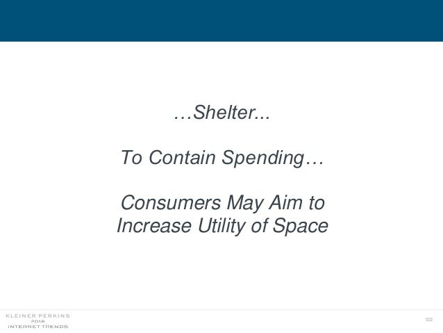 122 …Shelter... To Contain Spending… Consumers May Aim to Increase Utility of Space