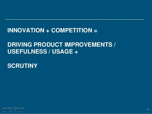 13 INNOVATION + COMPETITION = DRIVING PRODUCT IMPROVEMENTS / USEFULNESS / USAGE + SCRUTINY